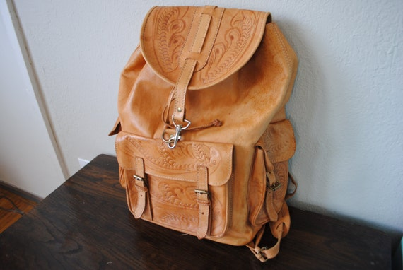 Vintage 1970s Leather Backpack Handmade Tooled Leather