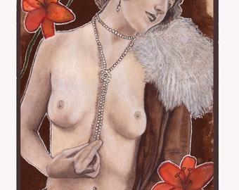 Fine art original Art Nouveau painting drawing mixed media - Poesia de Decadencia by Tuulia Tamminen
