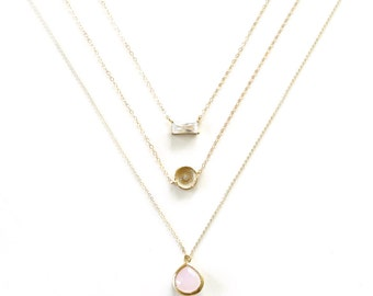 Diamond Layer Necklace, Gold Layer Necklace, Geometric Jewelry, Simple Minimal Necklace, Pink pendant, Delicate Necklace, Emerald Cut