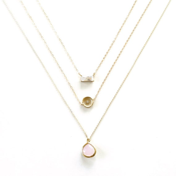 Pink Pendat + Gold Coin Diamond Necklace