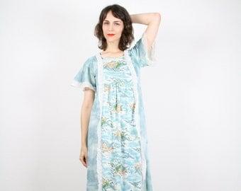 Vintage Sky Blue Dress Hippie Dress Maxi Dress Lace Trim Empire Waist Dress Angel Sleeve Dress Flutter Floral Print Boho M Medium L Large