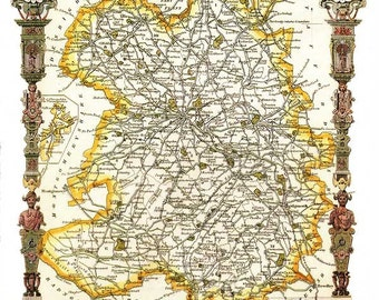 Shropshire 1841 - Antique English County Map of Shropshire by Thomas Moule - PRINT