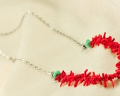 Southwestern inspired Red Coral and Turquoise Necklace