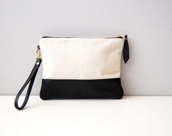 Leather and organic canvas clutch bag / minimalist leather and organic canvas bag / leather wristlet / leather clutch / linen bag