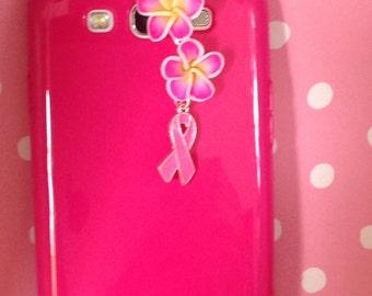 Breast Cancer Cell phone charm, dust plug charm, iPhone charm, headphone jack charm, ear plug charm, ipad plug, galaxy note pad plug.