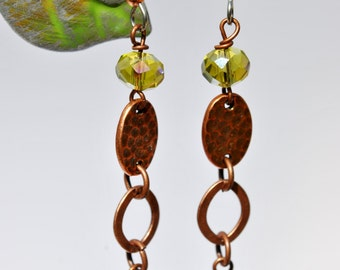 Czech glass chartreuse flower earrings, chartreuse crystal and copper earrings, long earrings, dangle earrings, lime green earrings
