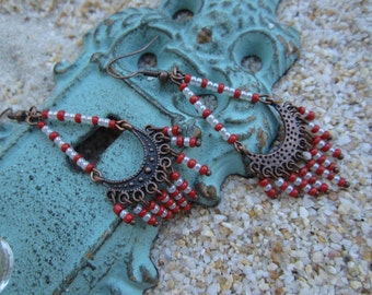 Chandelier red and white Earrings
