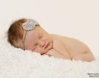 Grey Bow elastic Headband, Baby headband, Newborn Headband, Newborn Photo prop, Headbands, Baby Girl, Accessories