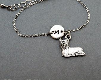 Yorkshire terrier charm bracelet, small terrier, antique silver, initial bracelet, friendship, mothers, adjustable, monogram