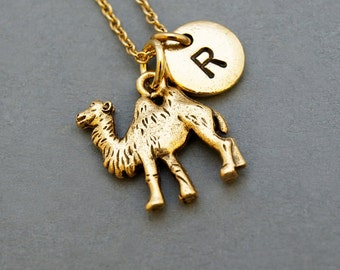 Camel charm Necklace, initial necklace, initial hand stamped, personalized, antique gold, monogram