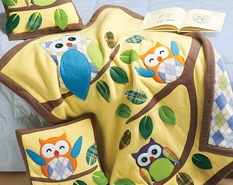 CUTE Owl in Tree with Leaves Applique Pillows & Quilt / Blanket - McCalls 6482 Crafts Sewing Pattern for Child, baby infant nursery - NEW!