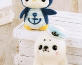 Sailor Penguin & Seal Pup Needle Felting Kit