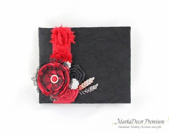 READY TO SHIP Wedding Lace Guest Book Custom Bridal Flower Brooch Guest Books in Black and Red