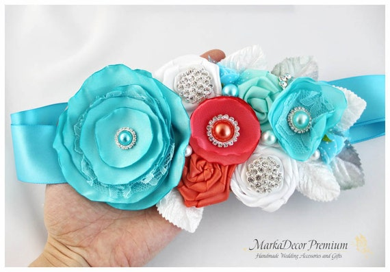Bridal Sash / Custom Wedding Bridesmaids Belt in Seafoam Blue, Light Turquoise, Coral, White with Brooches, Beads, Pearls, Crystals, Jewels