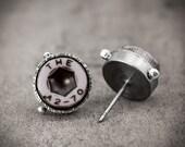 eco-friendly purple grey stud earrings - silver with grey violet screws - urban jewelry