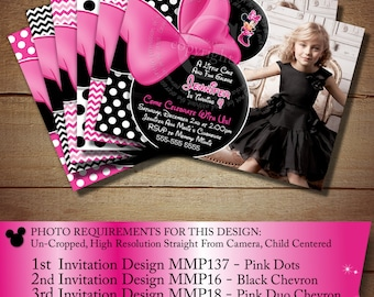 HUGE SELECTION Pink Minnie Mouse Invitation, Minnie Mouse Birthday Printables, Third Fourth Birthday Invitations, The Printable Occasion