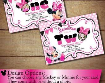 First Birthday Invitation, Second Birthday Invitation, Minnie Mouse Birthday Invitation, Light Pink Polka Dot PRINTABLE Invitation, Digital