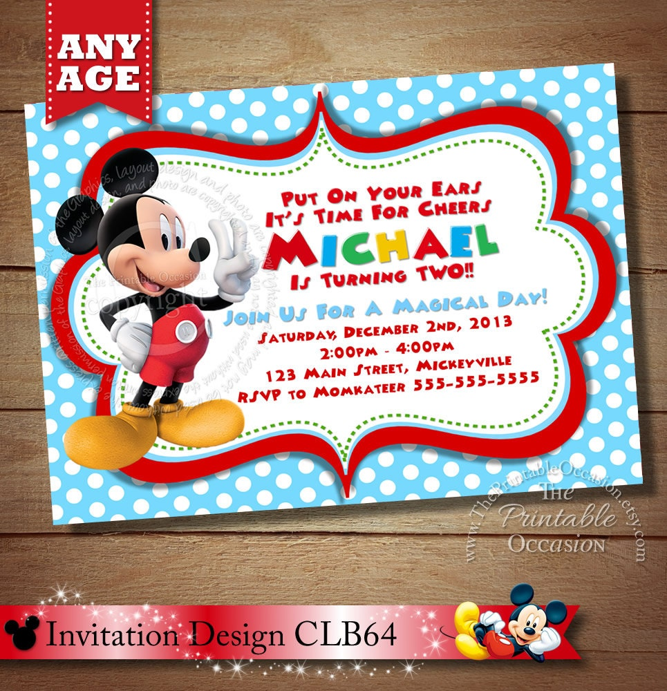 HUGE SELECTION Mickey Mouse Invitation Second Birthday Mickey