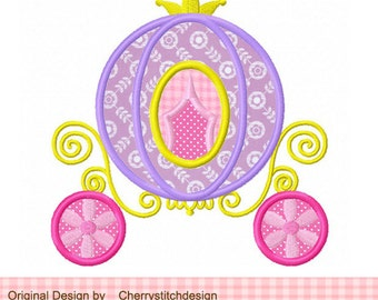 Princess Carriage Machine Embroidery Applique Design -approximate 4x4,5x5, 6x6 inch