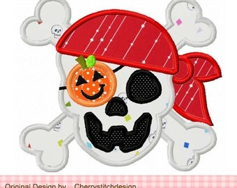Halloween Pirate Skull Machine Embroidery Applique Design -4x4 5x5 6x6""