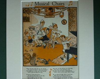 1948 Vintage Children's Print Of Musical Chairs - Party Game - 1940s - Vintage Print - Retro Print - Happy - Fun - Birthday Party - Piano