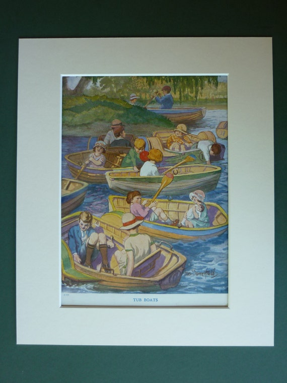 1920s Vintage Print Of Children Playing On The River In Rowing Boats By Thomas Somerfield - Tub Boats - Fun - Summer - Old Antique Print