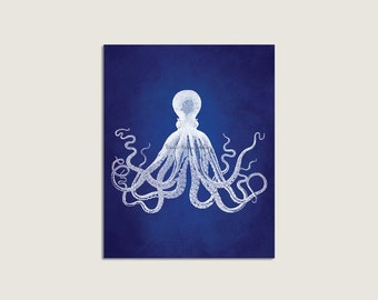 Octopus Art, Indigo Blue, Octopus Art Print, Vintage Octopus Wall Art, Octopus Print, Nautical Decor, Beach House Wall Art, Sealife Print