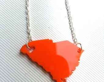 Personalized! Clemson Necklace Heart over Clemson, South Carolina