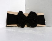 Sparkly Black Upcycled Bow on Black Nylon Headband - FeathandKee