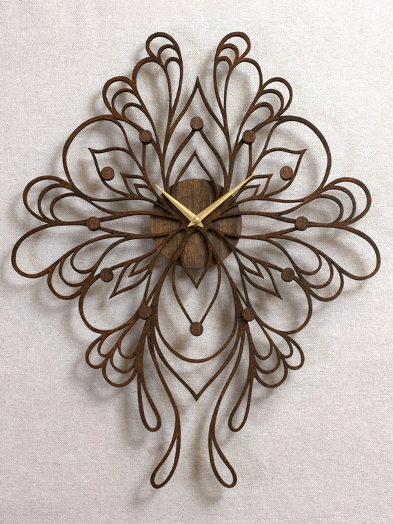 Sophia Clock. Laser Cut Wood Wall Clock.