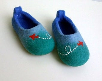 Felted wool slippers - Planes in the sky / Felt booties