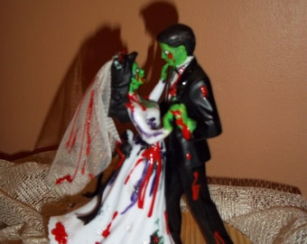 Day of the dead/Zombie/Skeleton Couple Wedding Cake Topper Dancing Couple Day of the dead wedding/The walking Dead /Zombie wedding