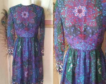 Vintage I. Magnin silk chiffon 1960's dress