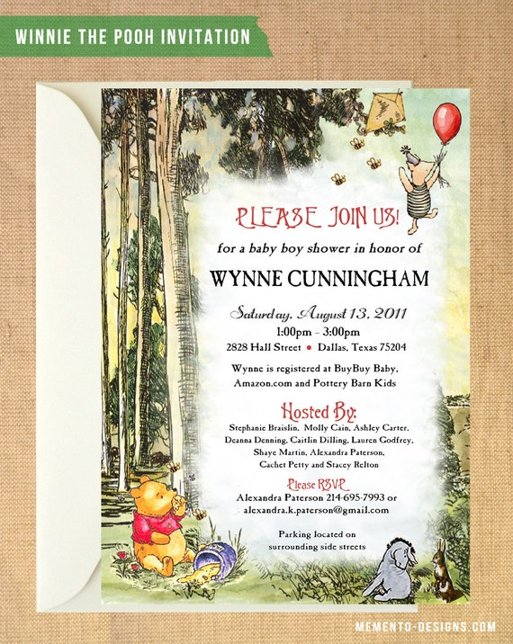 vintage winnie the pooh baby shower invitation diy printable