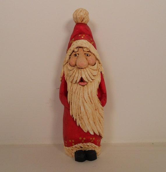 Santa wood carving christmas decor ornament gift