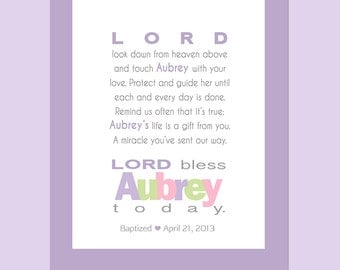 Girls Prayer-PRINTABLE-Wall Art personalized with child's name.  Baptism Gift - Christening Gift - Baby Gift - First Communion Gift.