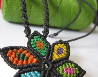Multicolored Macrame Flower Pendant Handmade Creation with Amethyst Gemstone Beads