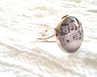 Sheet Music Ring - Sheet Music Jewelry - Musical Notes Ring - Musical Notes Jewelry (GRAY - 16mm)
