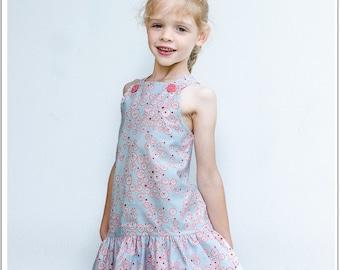Girls dress sewing pattern, LUCY LOU girls pdf dress pattern, children's sewing pattern to fit 12 months to 10 years.