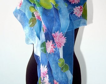 silk scarf  Waterlily - blue silk scarves hand painted - pink flowers - water lilies scarf by Malinowska - natural long lightweight scarf