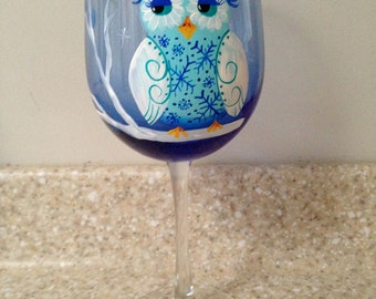 Winter Owl snow owl Hand painted wine glass christmas gift holiday gift winter solstace hanukkah gift i love owls blue and white owl love