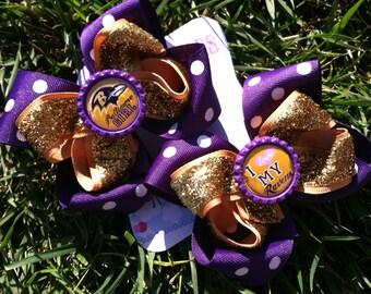 BALTIMORE RAVENS BOWS - Pigtail bows - Shoe toppers - Ravens - Hair bow - Baltimore Football - Girls Hair Bows - Big girls Bow