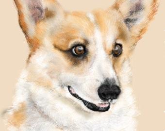 Custom Dog Pet Portrait, dog lover, artwork, painting, dog memorial, pet memorial, wall art, custom portrait, corgi, dog, pet, animal