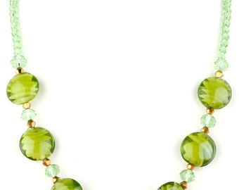 Green Beaded Murano Glass and Crystal Fashion Necklace