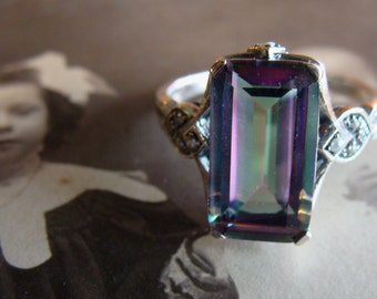 Lovely Sterling Silver Mystic Topaz & Seed Pearl  Ring  Size 6.75 Art Deco