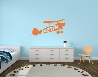 Personalized Name Kids Wall Decal - Airplane Name Decal - Plane Decal Vinyl Wall Art Kids Room Teen Name Vinyl Wall Decal