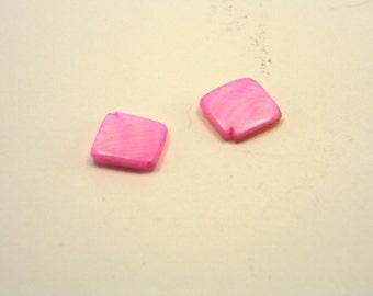 24 Pink Fresh Water Shell Beads Diamond Shaped 10mm