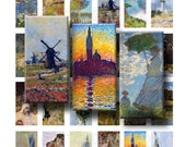 Claude Monet Paintings - Digital Collage Sheet - 1 x 2 inch Domino - INSTANT DOWNLOAD