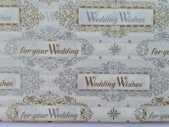 Traditional Wedding Gift Message : Vintage Gift Wrapping Paper - Traditional Wedding Wishes - Metallic ...