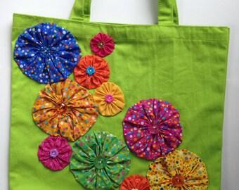 Yo-Yo Flower Embellished Green Canvas Tote Bag - Violet Bows